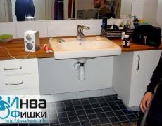 Умывальник в оборудованной ванной