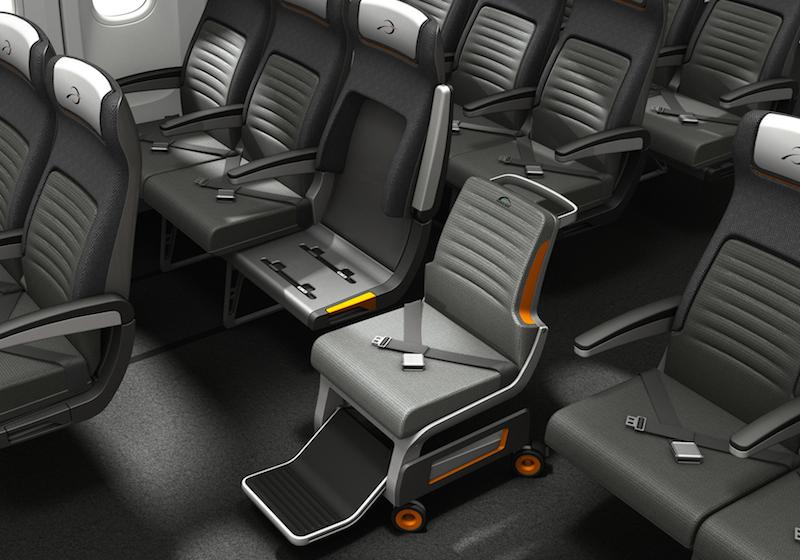 Концепт самолетного сидения для человека передвигающегося на коляске