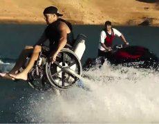 Полет над водой в коляске (The Flying Wheel Chair)